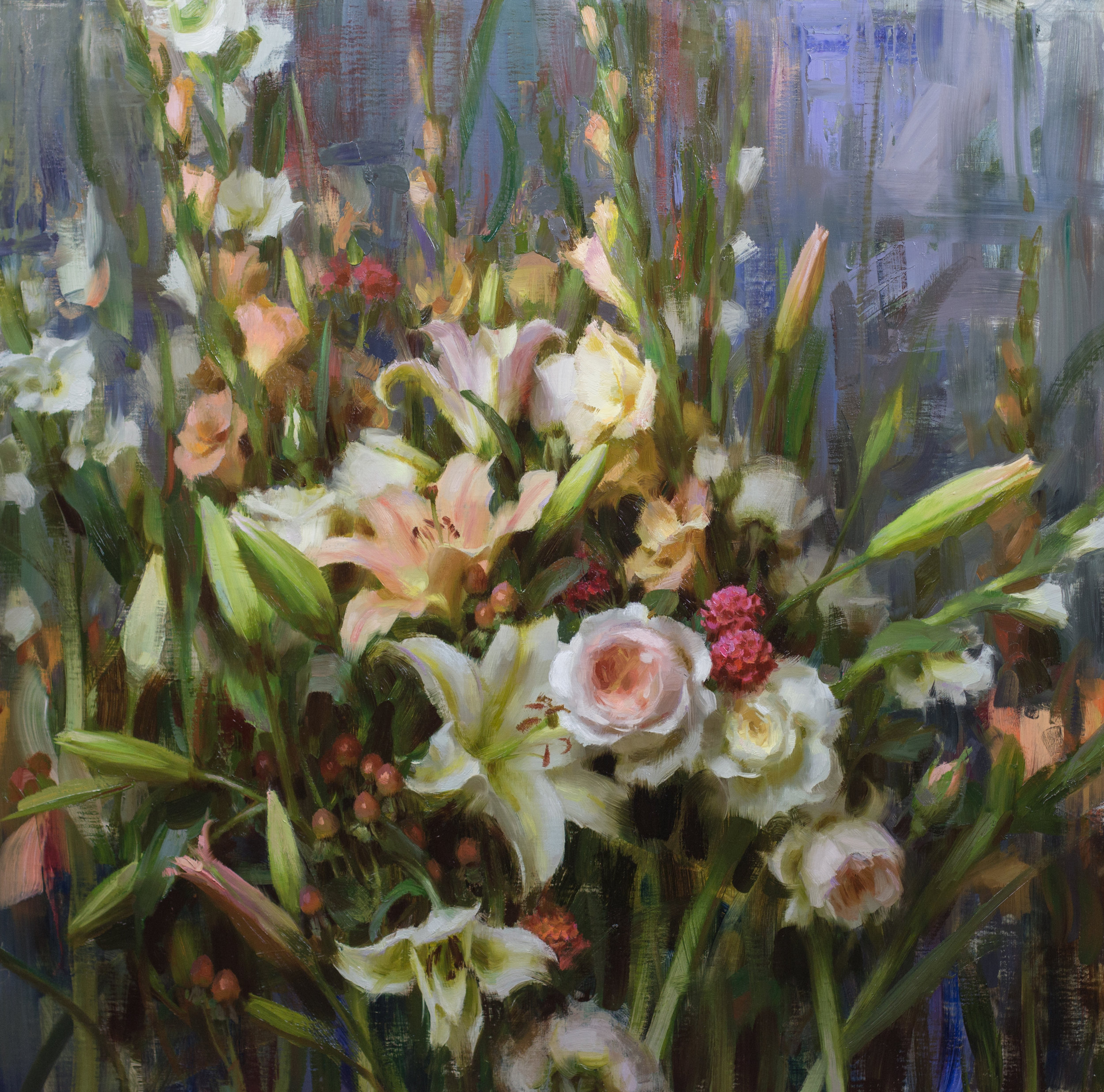 Roses, Lilies, & Gladiolas, 30 x 30 inches, oil on linen