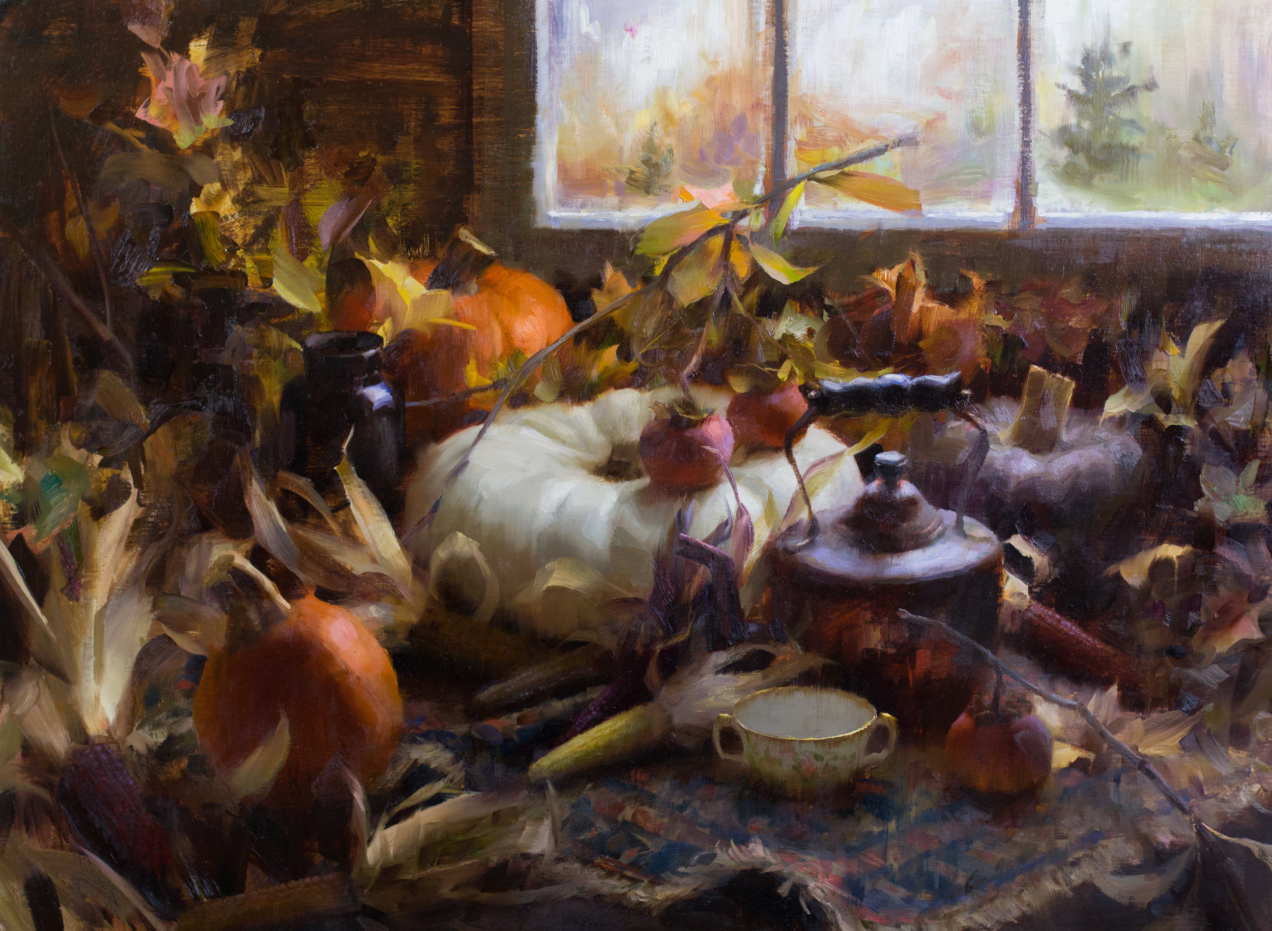 Autumn Still-life by the Window, 30 x 40 inches, oil on linen