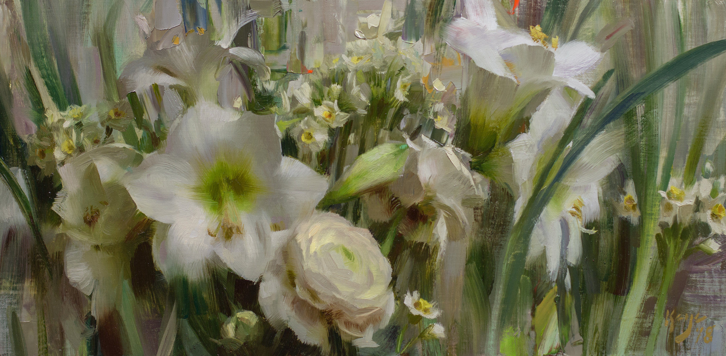 Les Fleurs Blanches. 10 x 20 inches, oil on linen