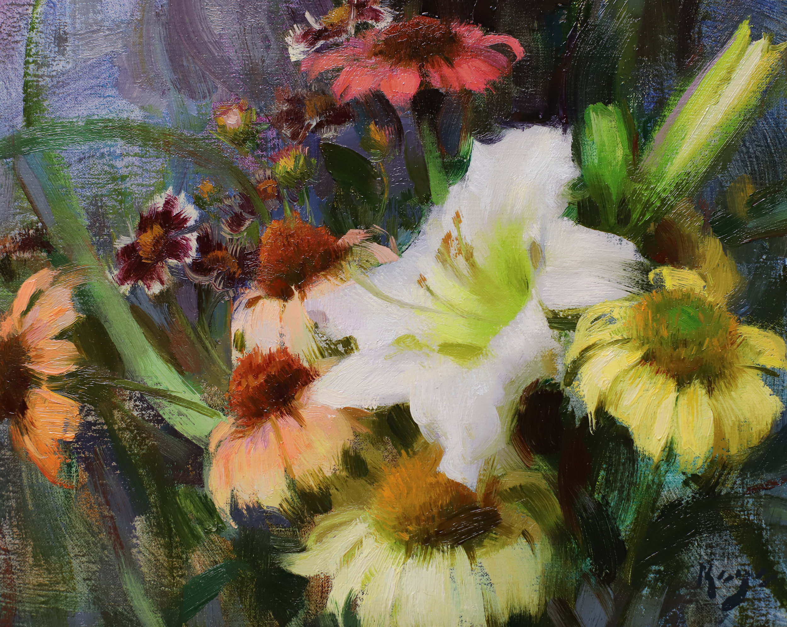 Daylily, Echinacea, & Coreopsis, 9 x 12 inches, oil