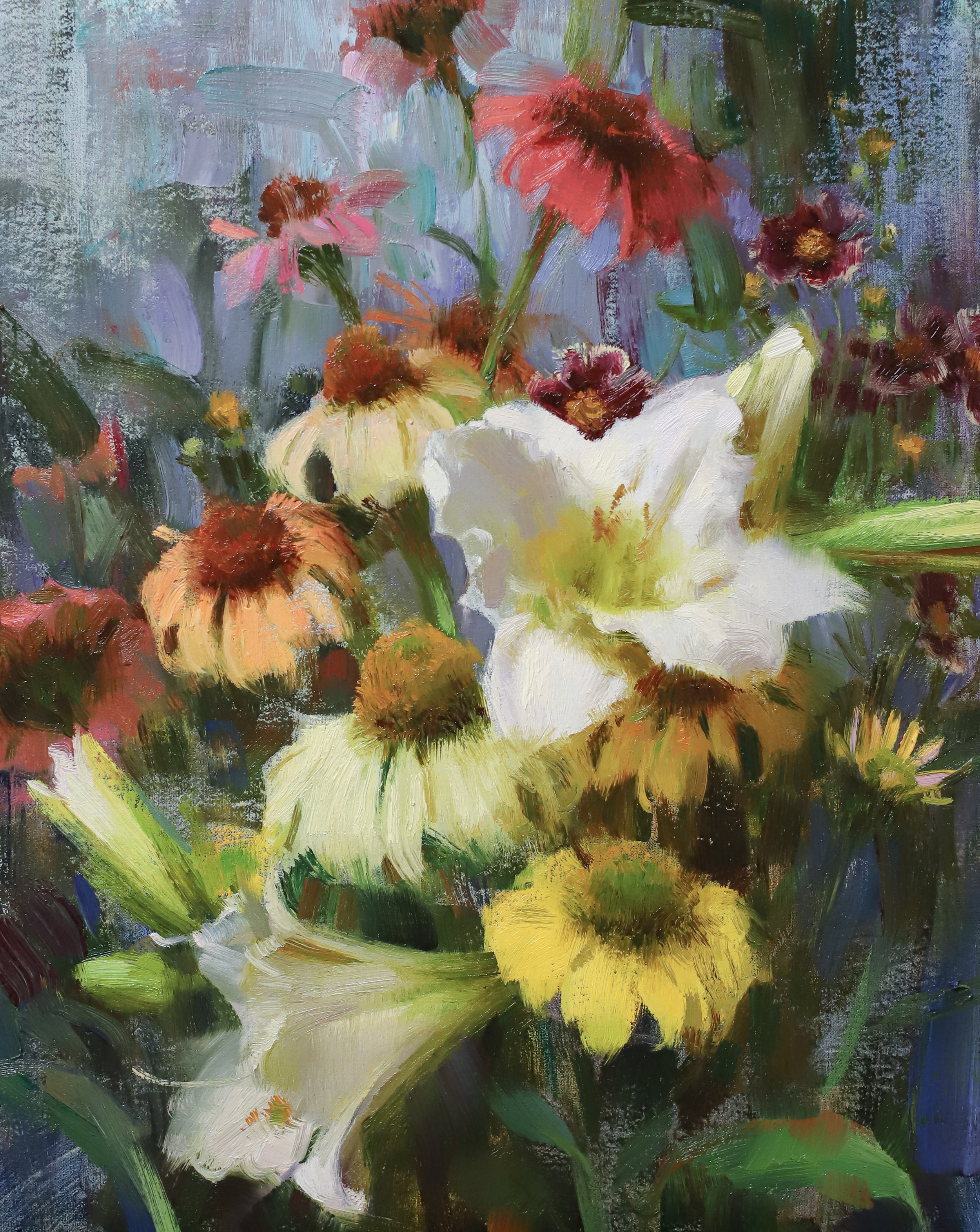 Daylilies, Echinacea, & Coreopsis, 2019, 14 x 11 inches, oil
