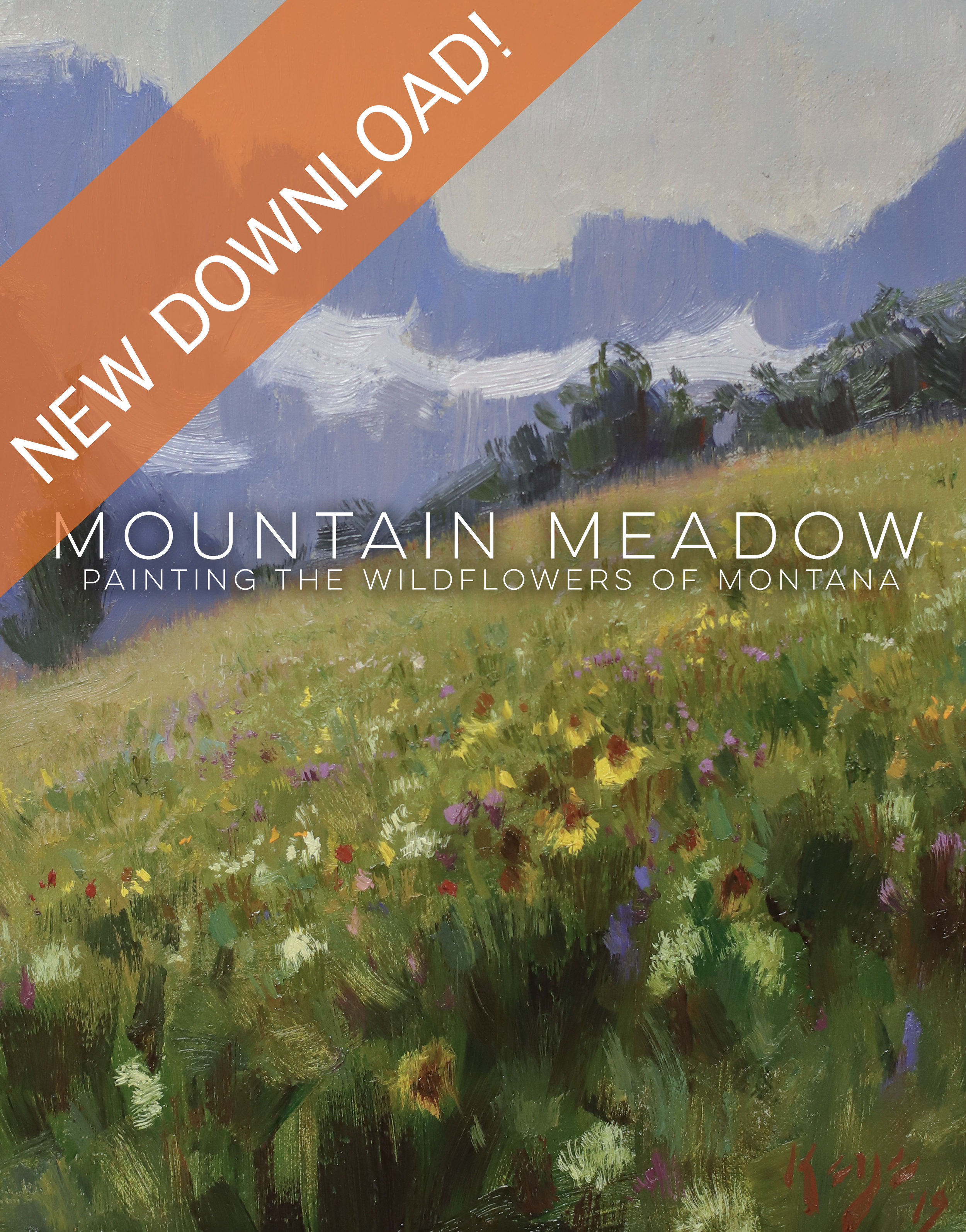 MOUNTAIN MEADOW - Painting the Wildflowers of MontanaDOWNLOAD HERE    Montana's Many Glacier mountain range is one of the most beautiful in the world, and particularly attractive to me are the meadows of wildflowers that grow but a short distance from them. Not being able to film inside the national park (it's not legal to film commercially within a federal park), I've decided to paint the scene using my plein-air studies and a few photographs.    In this informative landscape video, we'll cover everything from color and value, to using reference studies to create a