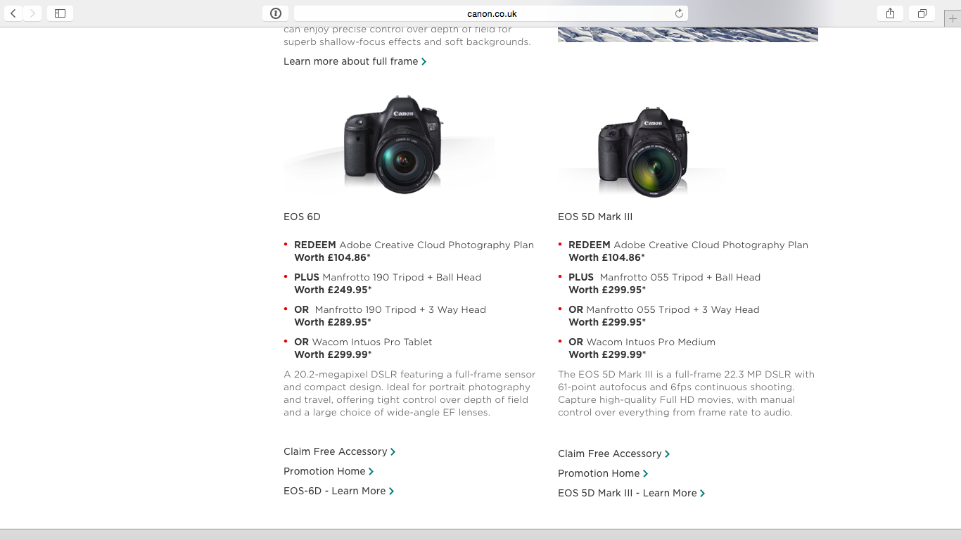 Only two Canon DSLRs came with the offers of accessories