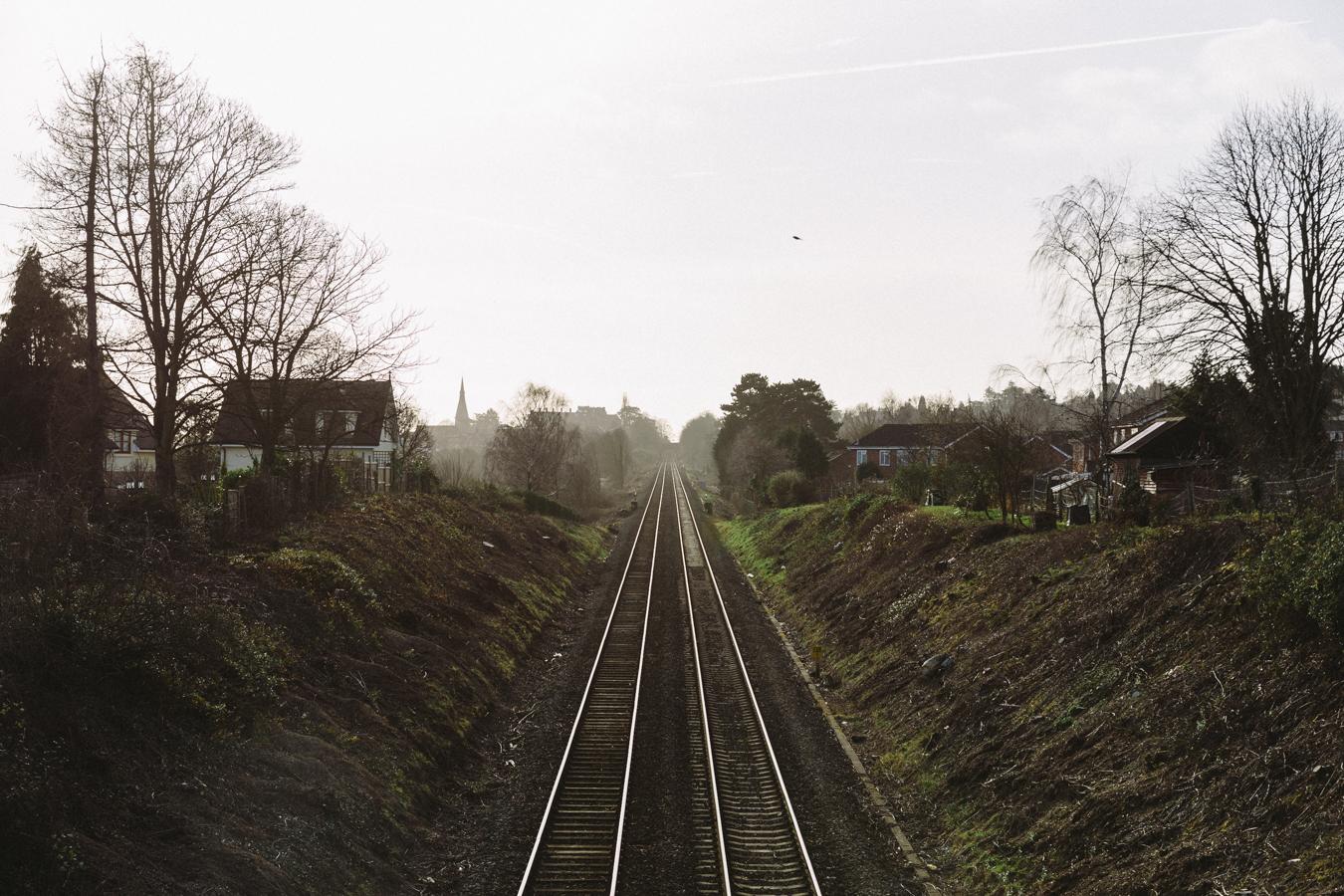 Looking down the railway line towards Great Malvern