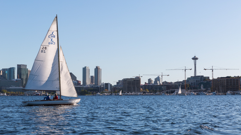 Downtown Seattle and the Space Needle, seen from Lake Union