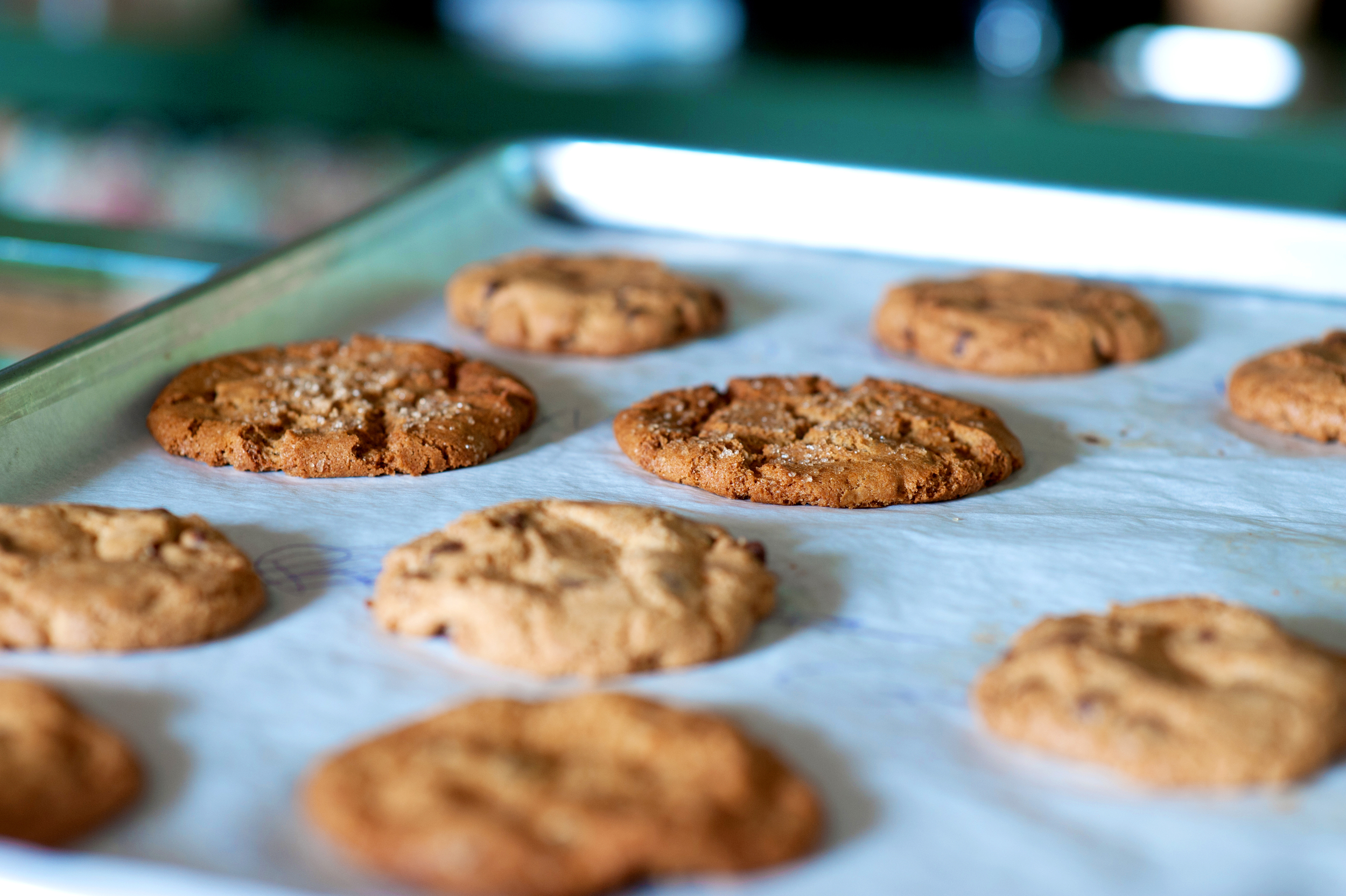 Cookies are fresh baked every morning, made with organic eggs, unbleached flour, no additives!