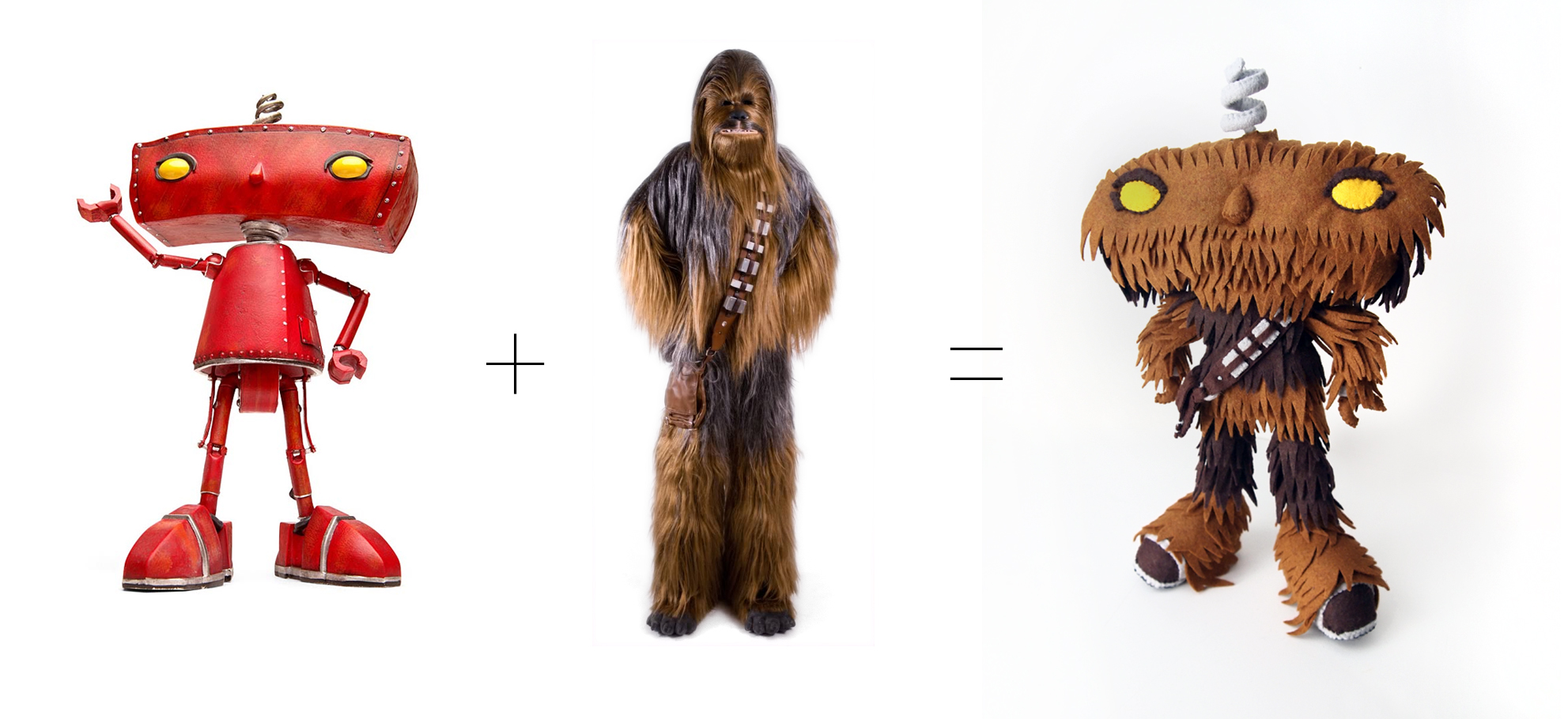 """""""Bad Wookiee""""is a fine art mix of the Bad Robot and Chewbacca."""