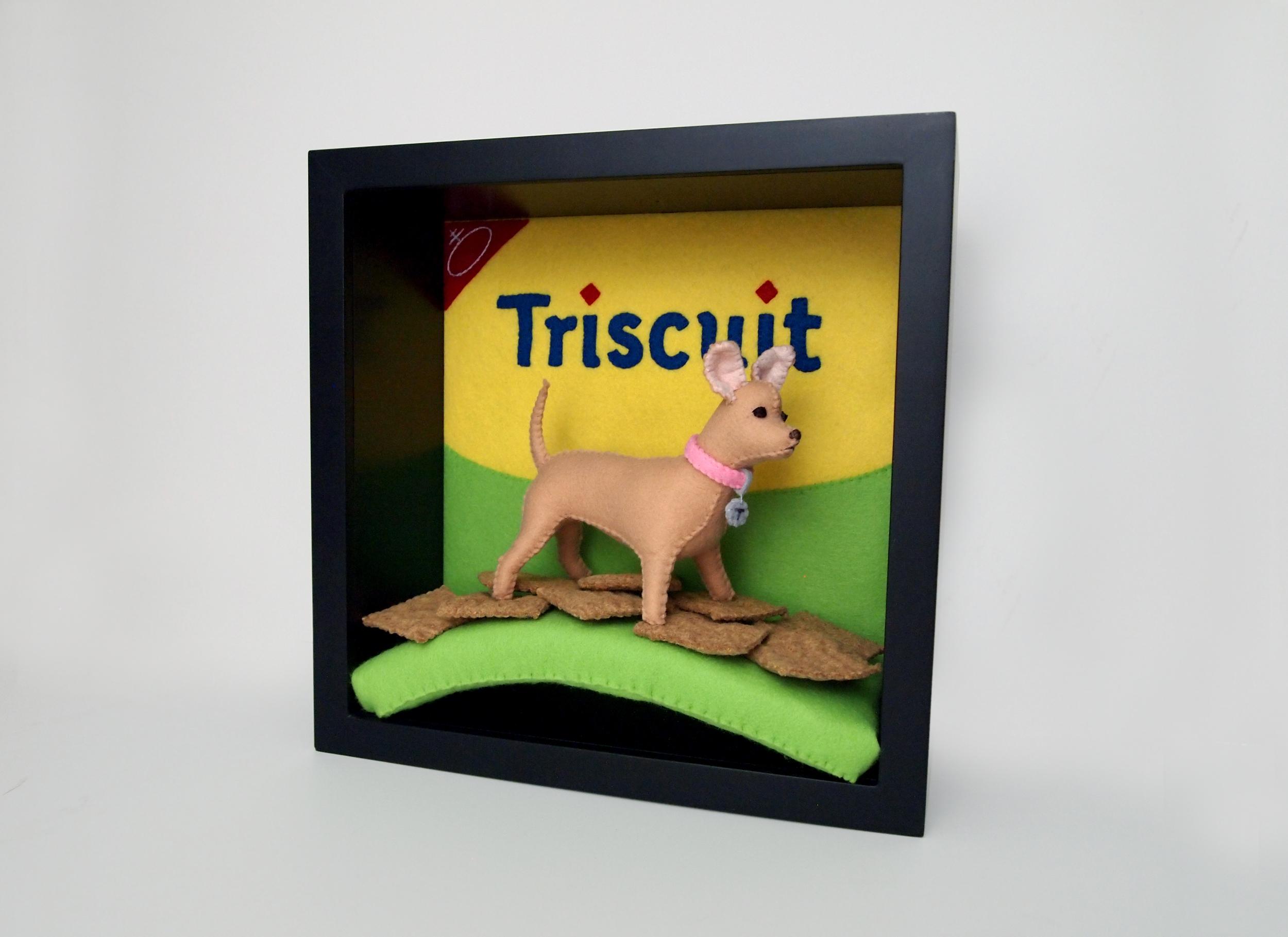 Triscuit chihuahua felt dog portrait