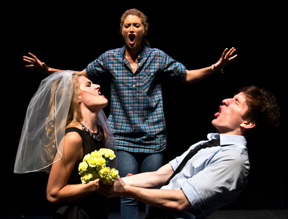 """From left to right: Chloe Williamson, Kristine Reese, and James Penca perform """"That's How It Happened"""" at the FringeNYC press conference. Photo by: David Gordon."""
