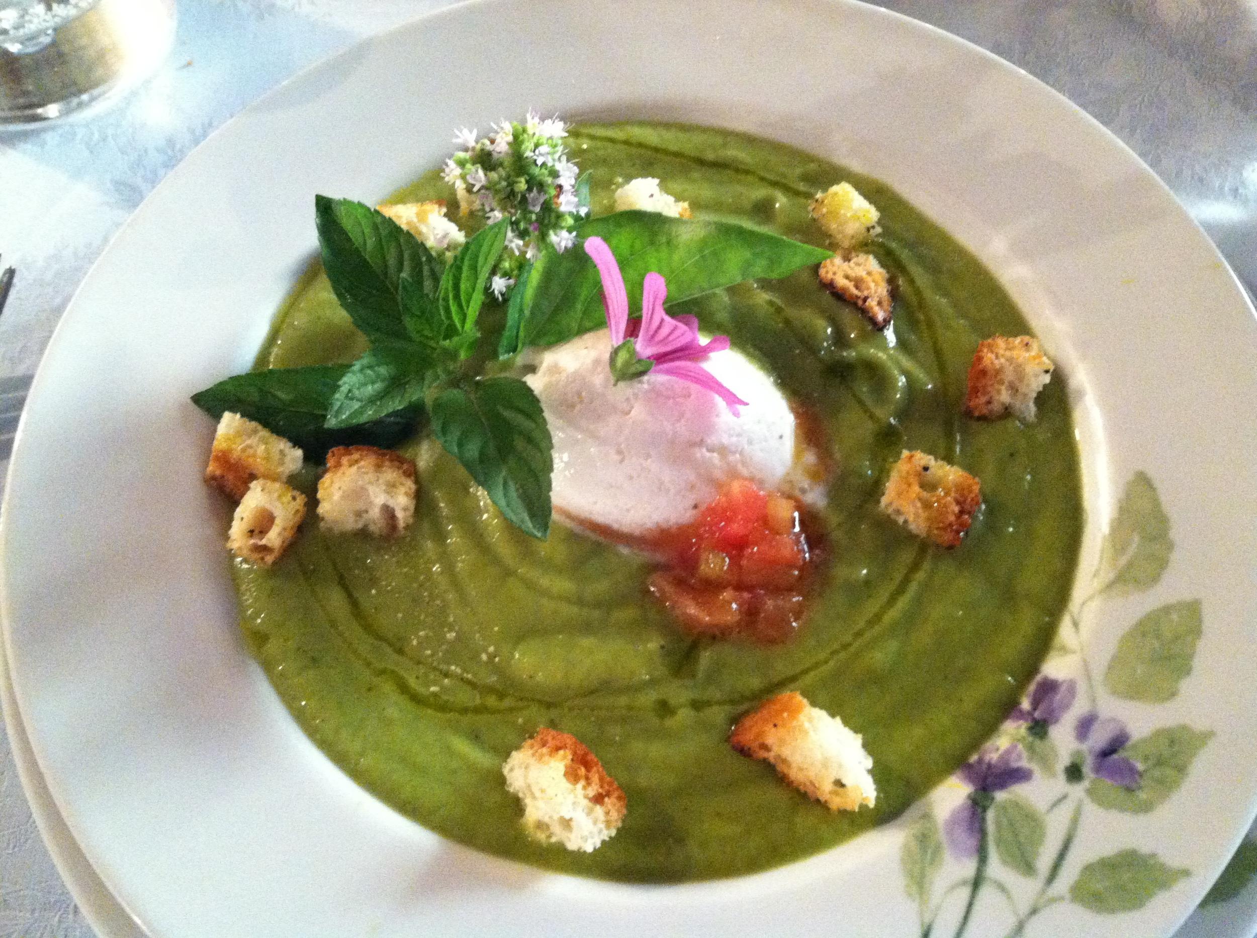 Locanda Del Glicene's creme of garden zucchini soup with ricotta sorbet.