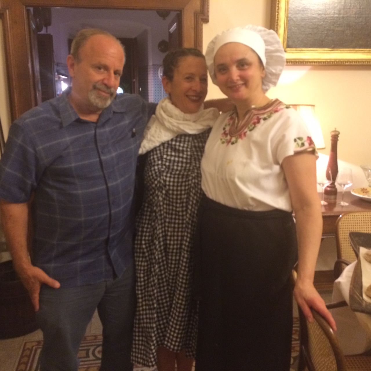 "Nancy and I with the ""chef with the high heels"" Maria Luisa.Scolastra."