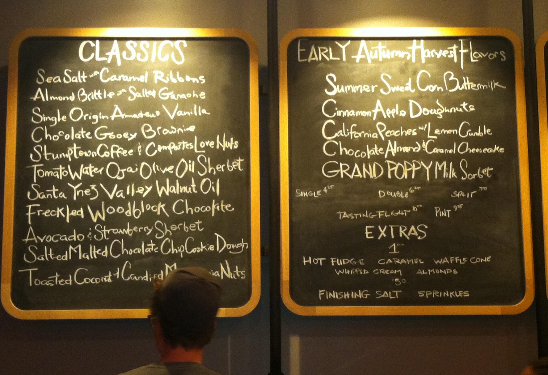 Tyler Malek and his menu.
