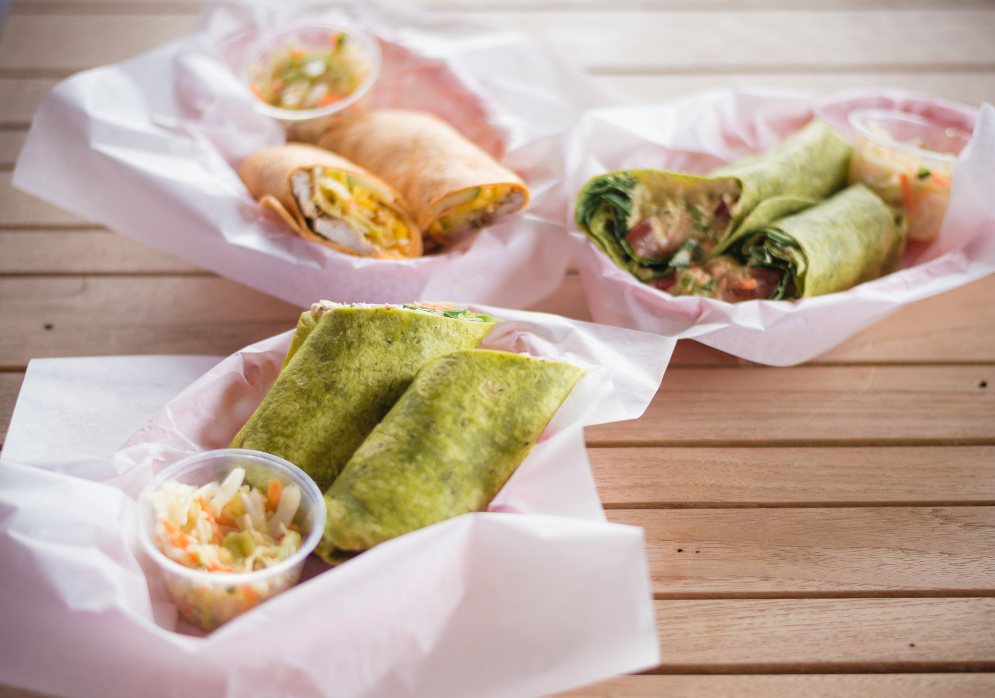 Jerk Wrap, Tuna Wrap and Hummus Wrap