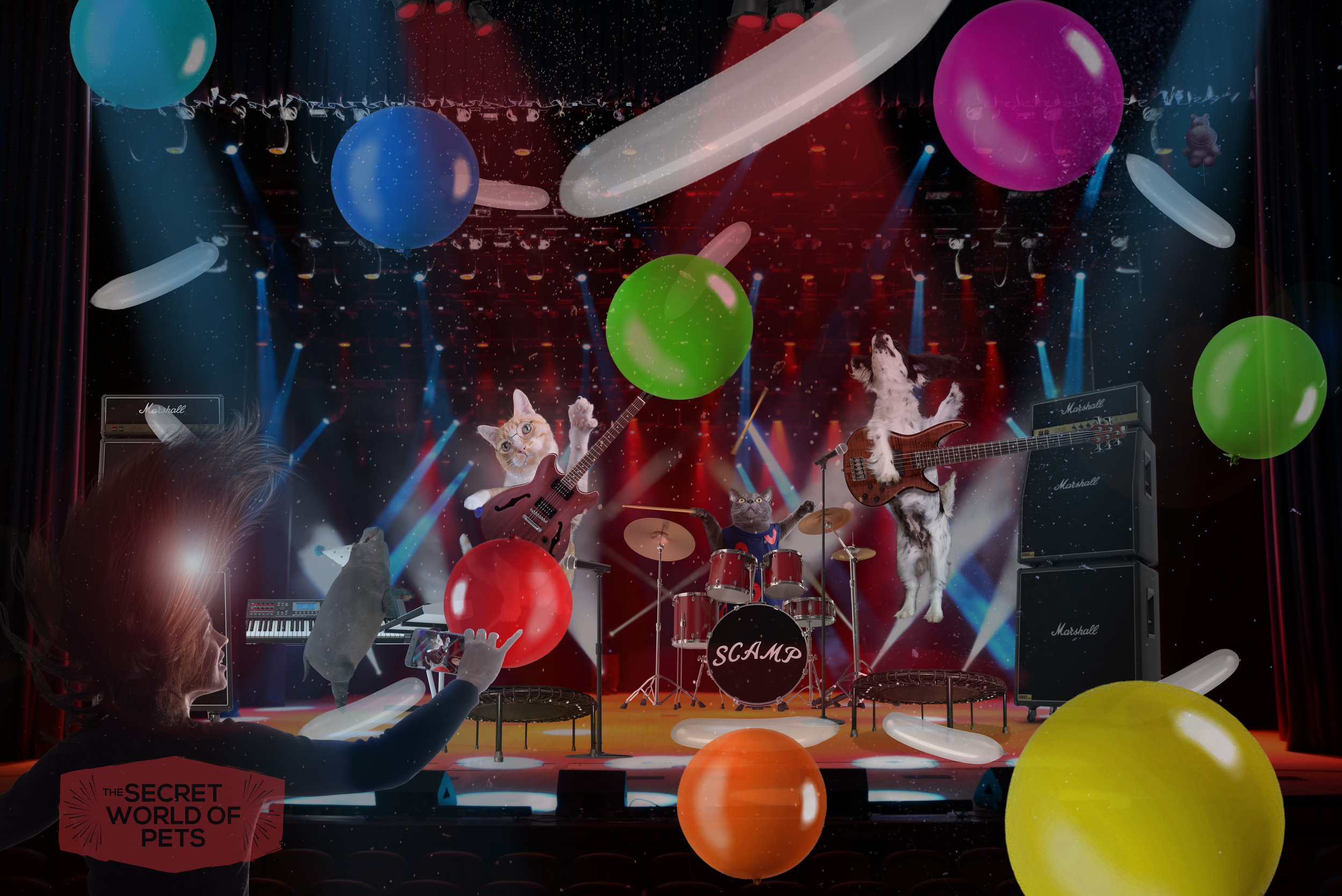 Photo composite of animals in concert.