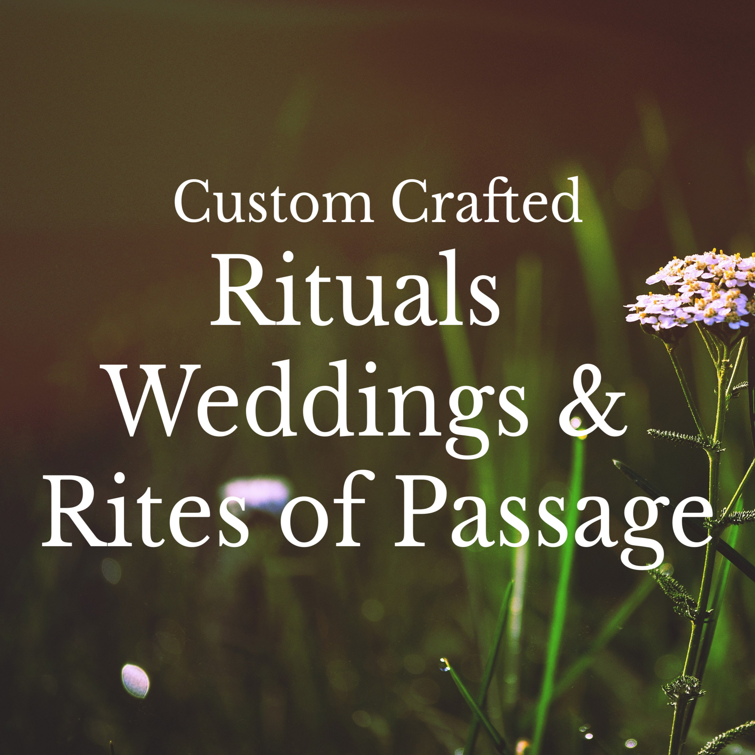 Custom rites of passages for life's milestones including weddings, age transitions, deaths & blessing of spaces. Click here to contact me for information