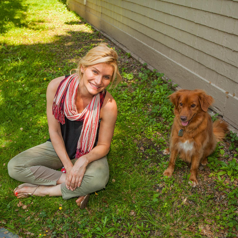 The photographer and her new friend Sasha Copyright Dr William Brooks www.BrooksofCanada.ca
