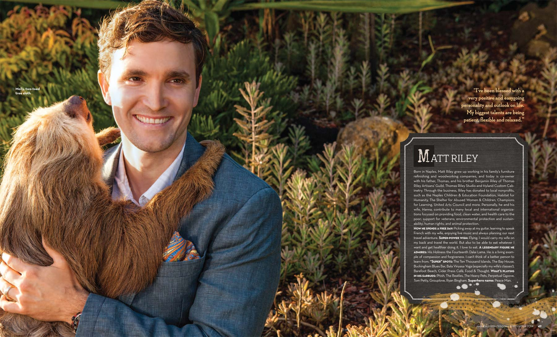 Matt Riley with Mollie the two toed sloth at the Naples Zoo Copyright Vanessa Rogers Photography 2014