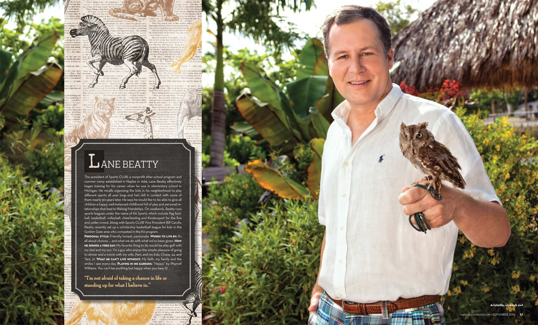 Lane Beatty of Sports CLUB Naples with Aristotle the Screech Owl   at the Naples Zoo Copyright Vanessa Rogers Photography 2014