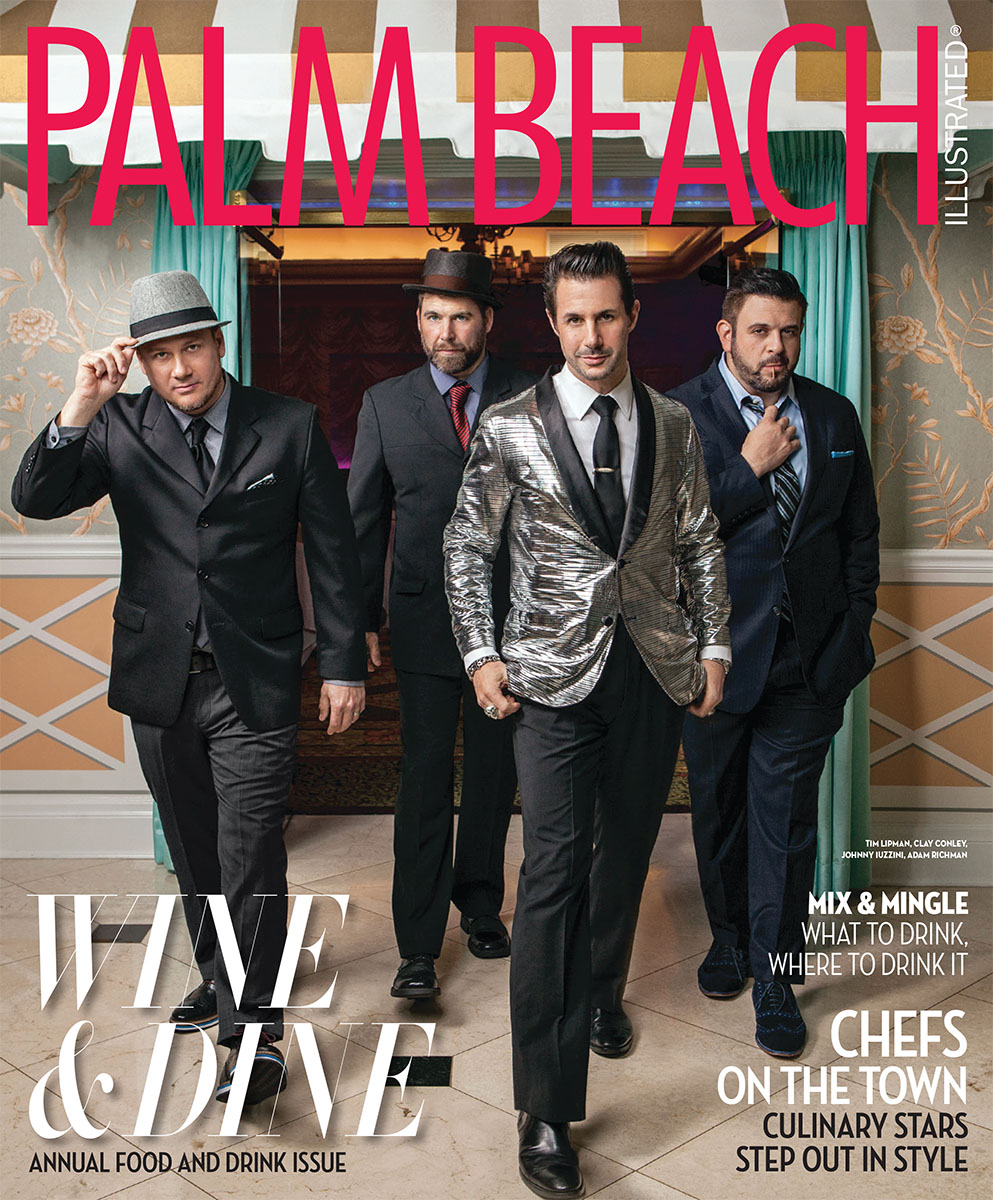 Celebrity Chefs Tim Lipman, Clay Conley, Johnny Iuzzini and Adam Richman from Man Vs Food shot at The Colony on Palm Beach for Palm Beach Illustrated by Vanessa Rogers