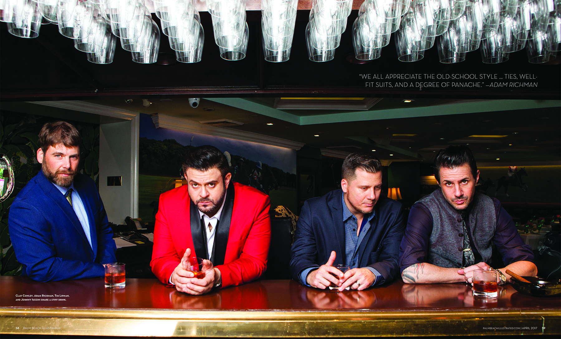 Clay Conley, Adam Richman, Tim Lipman and Johnny Iuzzini at The Colony Palm Beach Bar for Palm Beach Illustrated Magazine by Vanessa Rogers
