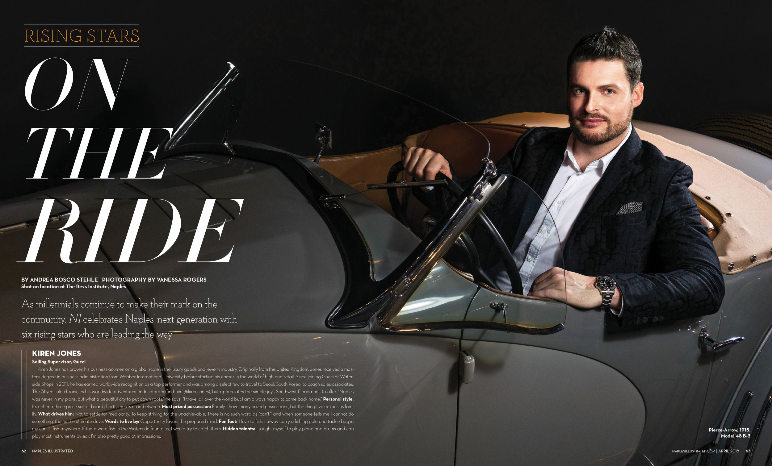 Kiren Jones from Gucci in a Pierce-Arrow 1915 Model 48 B-3 shot at The Rev's Institute in Naples, Florida March 2018 Issue of Naples Illustrated Magazine