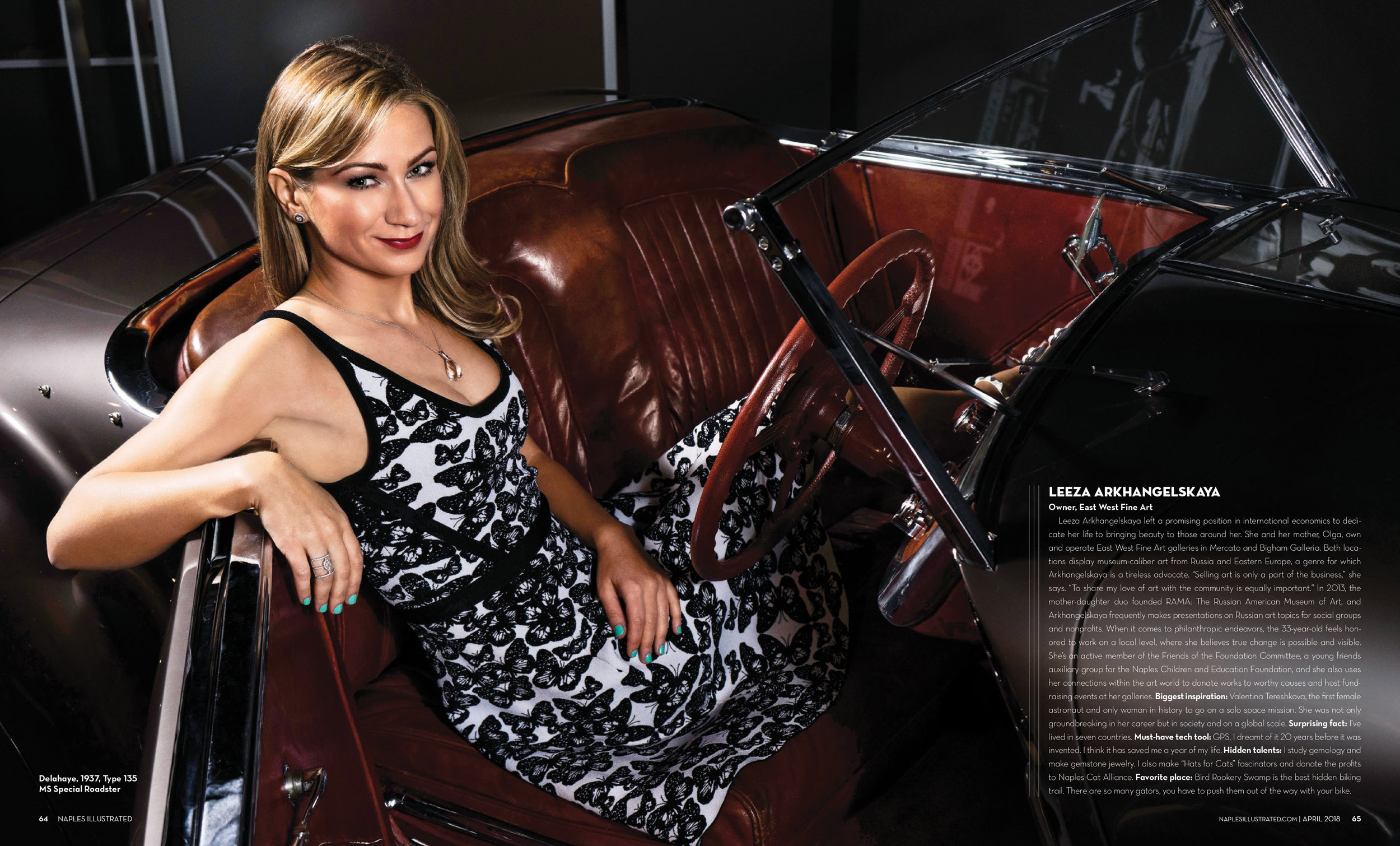 Leeza Arkhangelskaya, Owner of East West Fine Art in a Delahaye, 1937, Type 135 MS Special Roaster shot at The Rev's Institute in Naples, Florida March 2018 Issue of Naples Illustrated Magazine