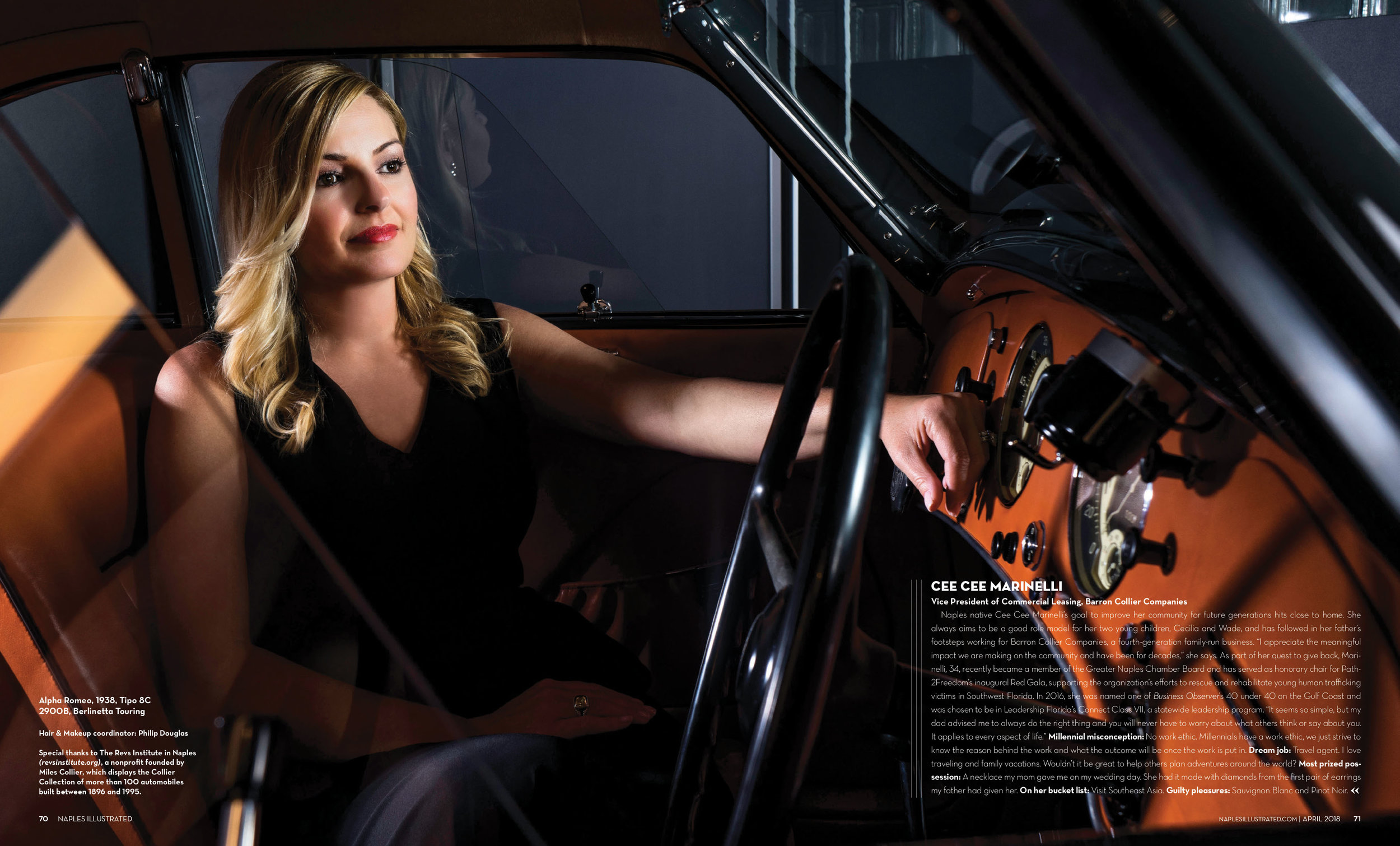 Cee Cee Marinelli, Vice President of Commercial Leasing, Barron Collier Companies in a Alpha Romeo, 1938, Type 8c 2900B, Berlinette Touring shot at The Rev's Institute in Naples, Florida March 2018 Issue of Naples Illustrated Magazine