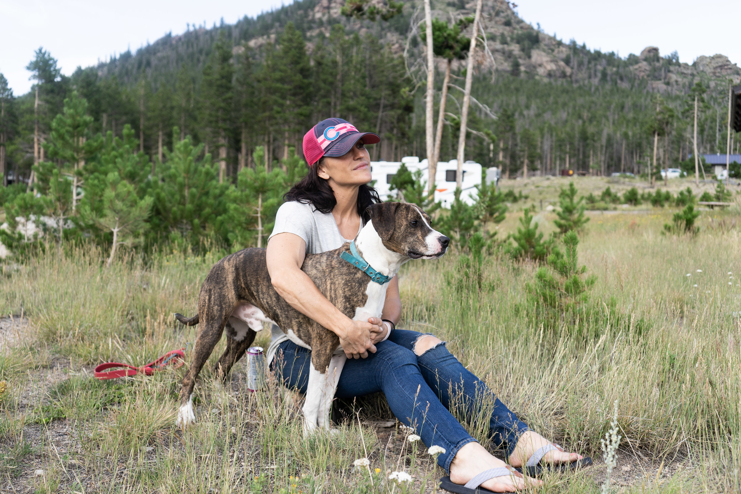 Tracy and Marley. Rocky Mountain National Park, Glacier Basin Campground 2018