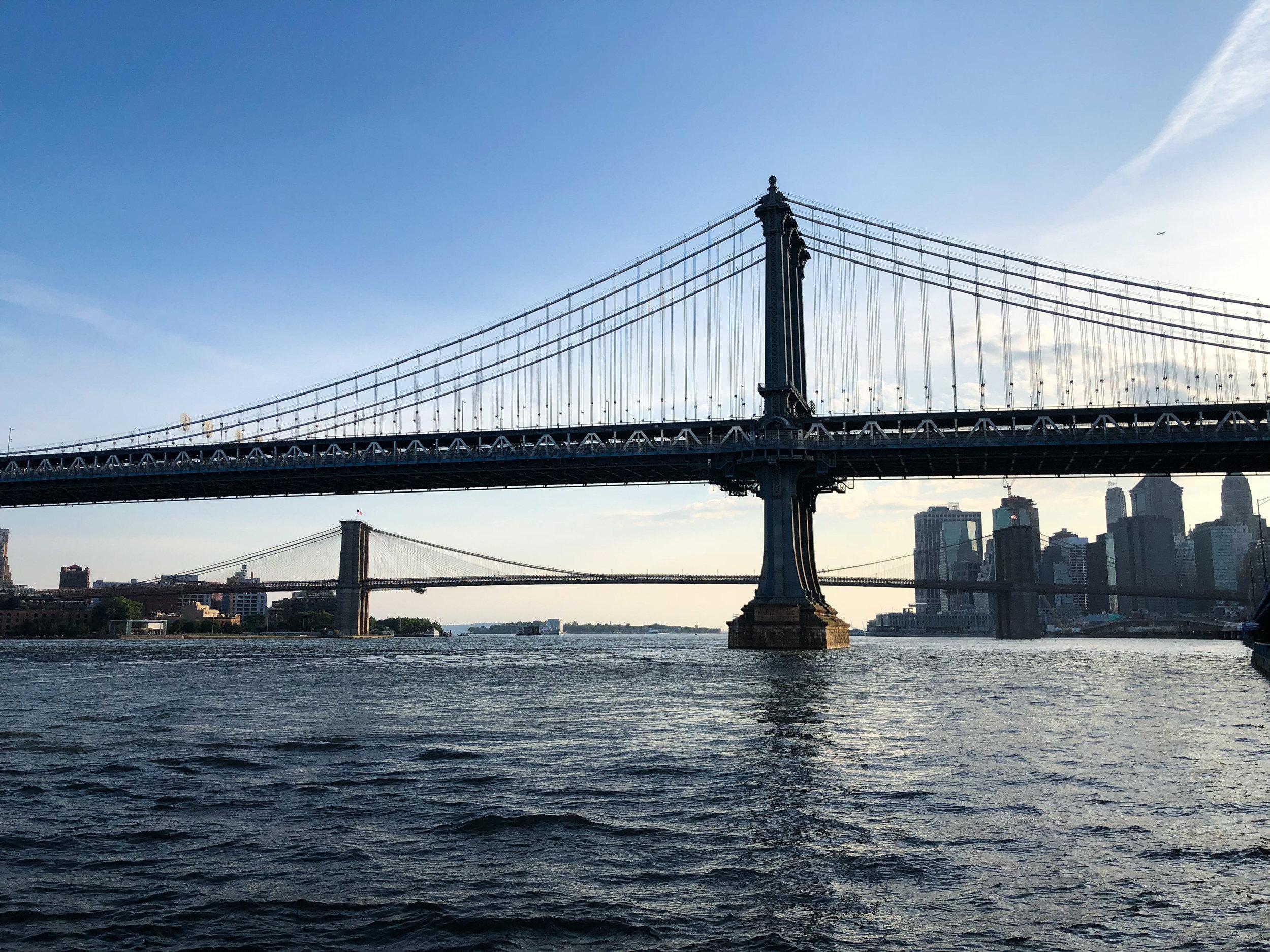 Manhattan and Brooklyn Bridges. Eastside Greenway, Midtown East, New York City 2018