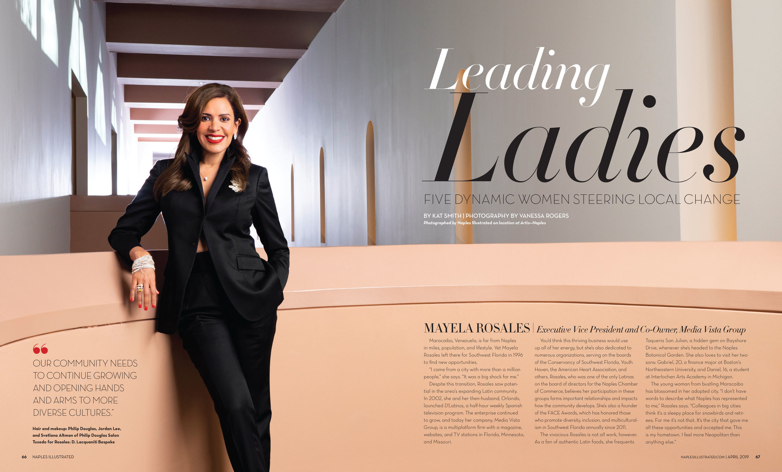Mayela Rosales, Executive Vice President and Co-owner, Media Vista Group shot on location at Artis Naples. Photography by Vanessa Rogers Photography. Art Direction by Loretta Grantham. Hair and Makeup by Philip Douglas & Co.