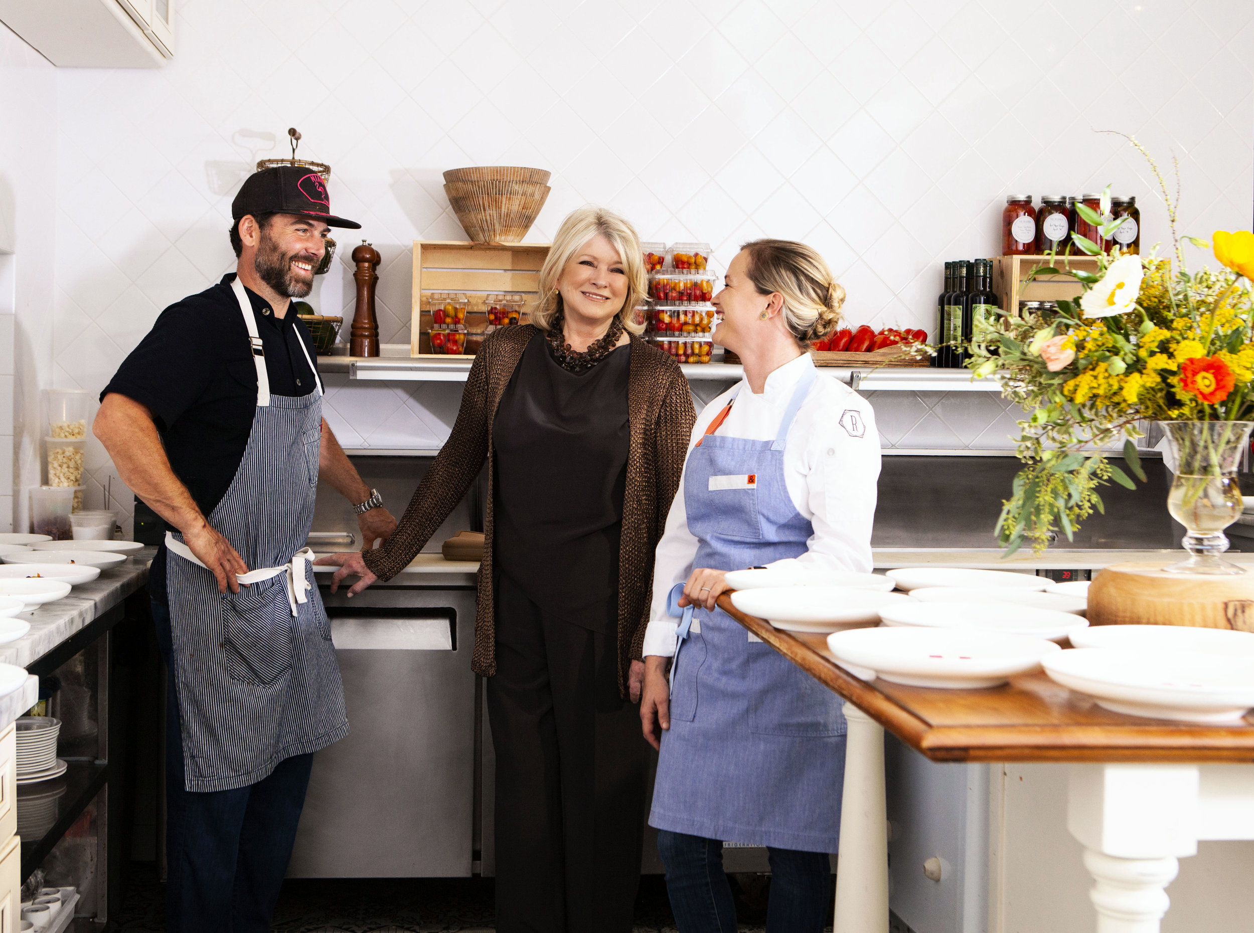 Martha Stewart, Clay Conley, Chef/Owner of Buccan, Grato and Imoto and Lindsay Autry, Executive Chef/ Partner at The Regional Palm Beach.