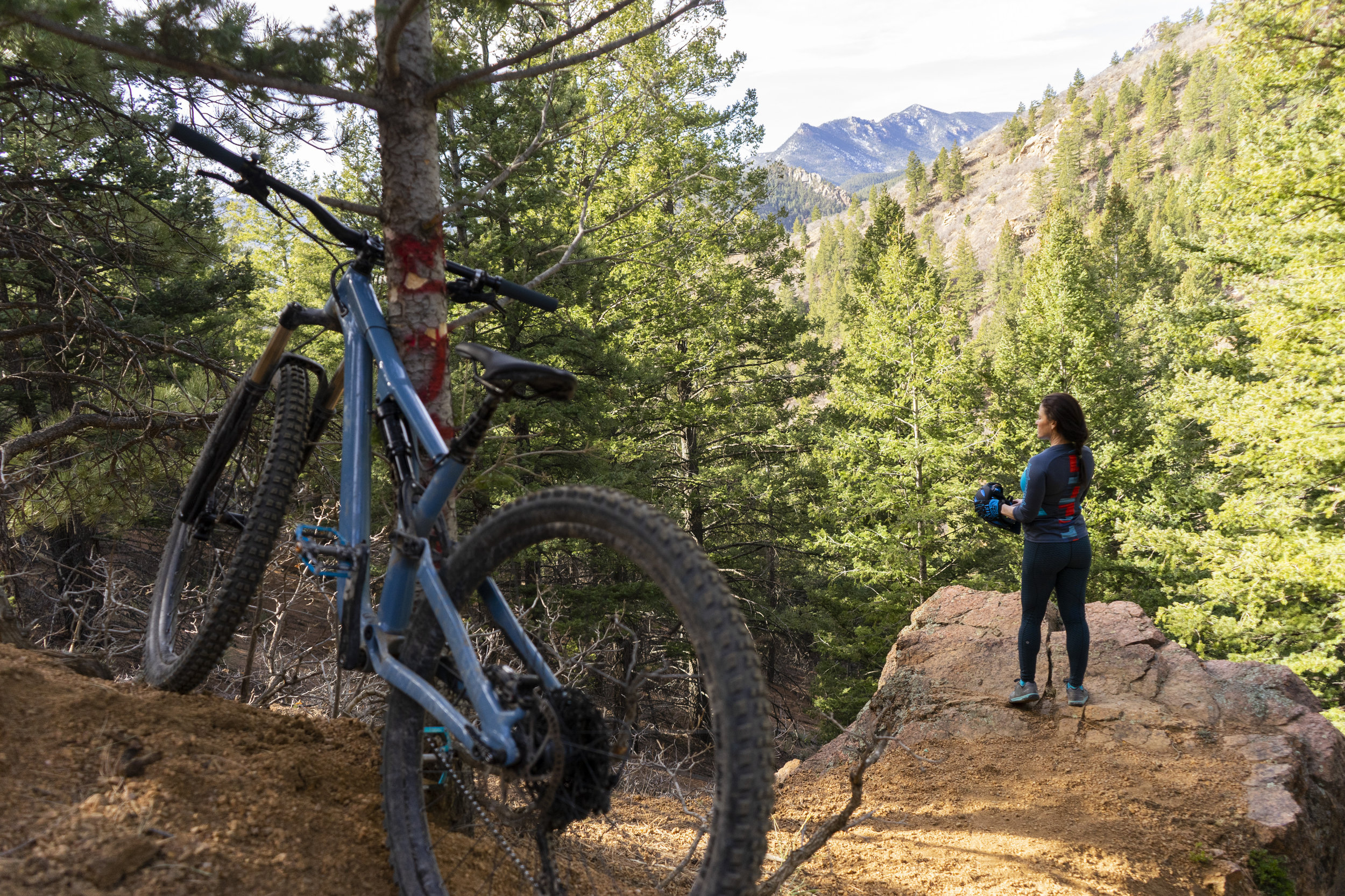 Tracy Mountain Biking on Cheyenne Mountain, Colorado Springs, Colorado 2019