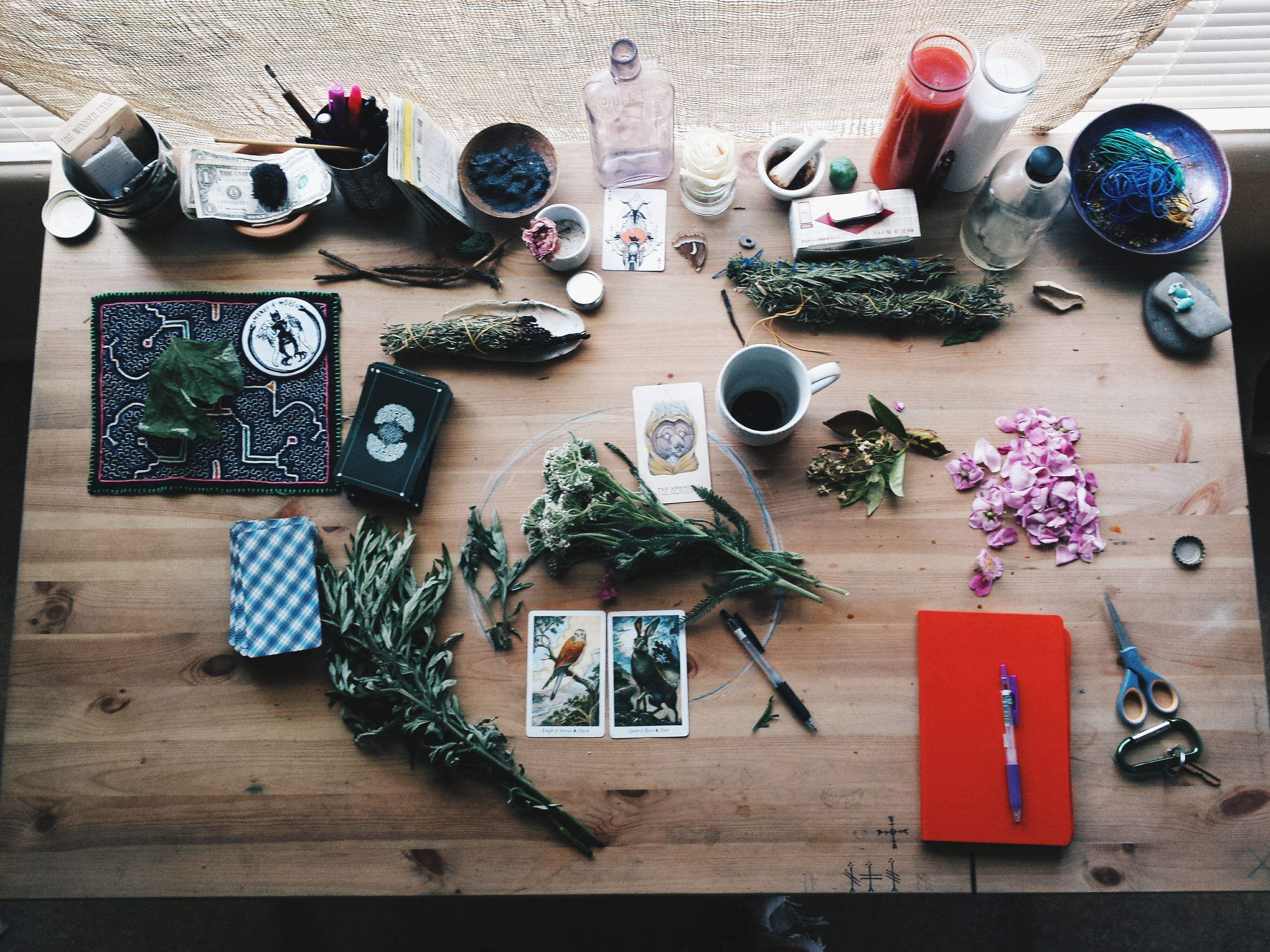 tarot cards witch table herbs