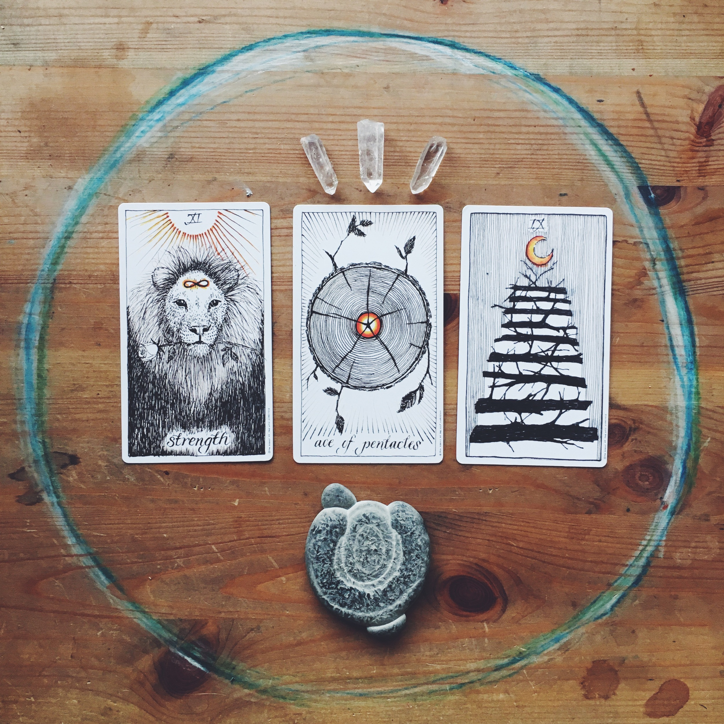 Wild Unknown - Strength Ace of Pentacles and 9 of Wands