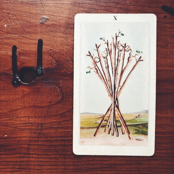 uusi design studio pagan otherworlds tarot 10 of wands