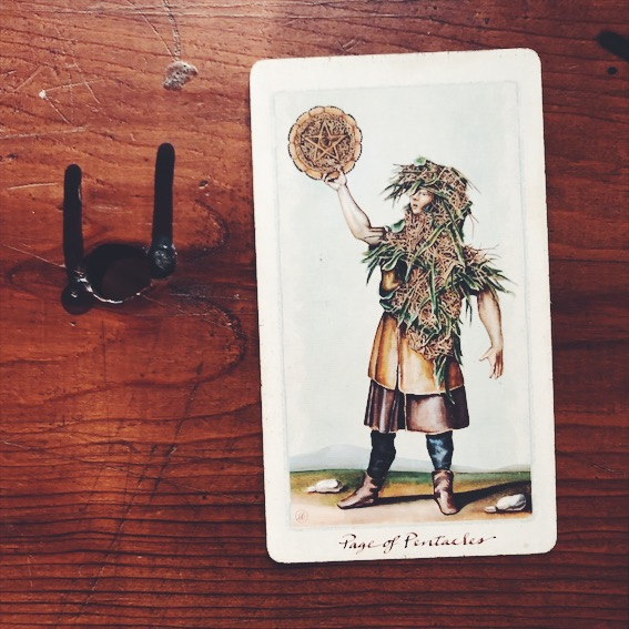 uusi design studio pagan otherworlds tarot page of pentacles