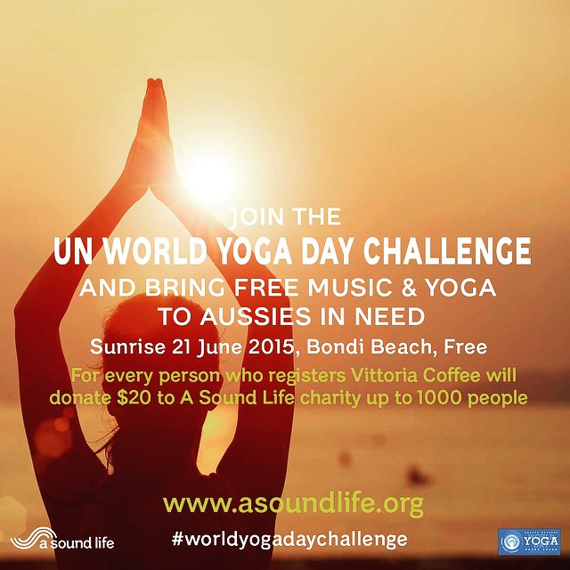 Be part of history.. First ever United Nations World Yoga Day and our music and yoga charity @asoundlifecharity is presenting the FREE Sunrise yoga and meditation event on #bondibeach this Sunday 6:45am. I'll be singing as part of it!  For every person that steps onto the mat @vittoria_coffee  will donate $20 to a sound life. register now at www.asoundlife.org.  @vaanimusic #vaani #yoga #worldyogaday  #yogamusic #worldyogadaychallenge