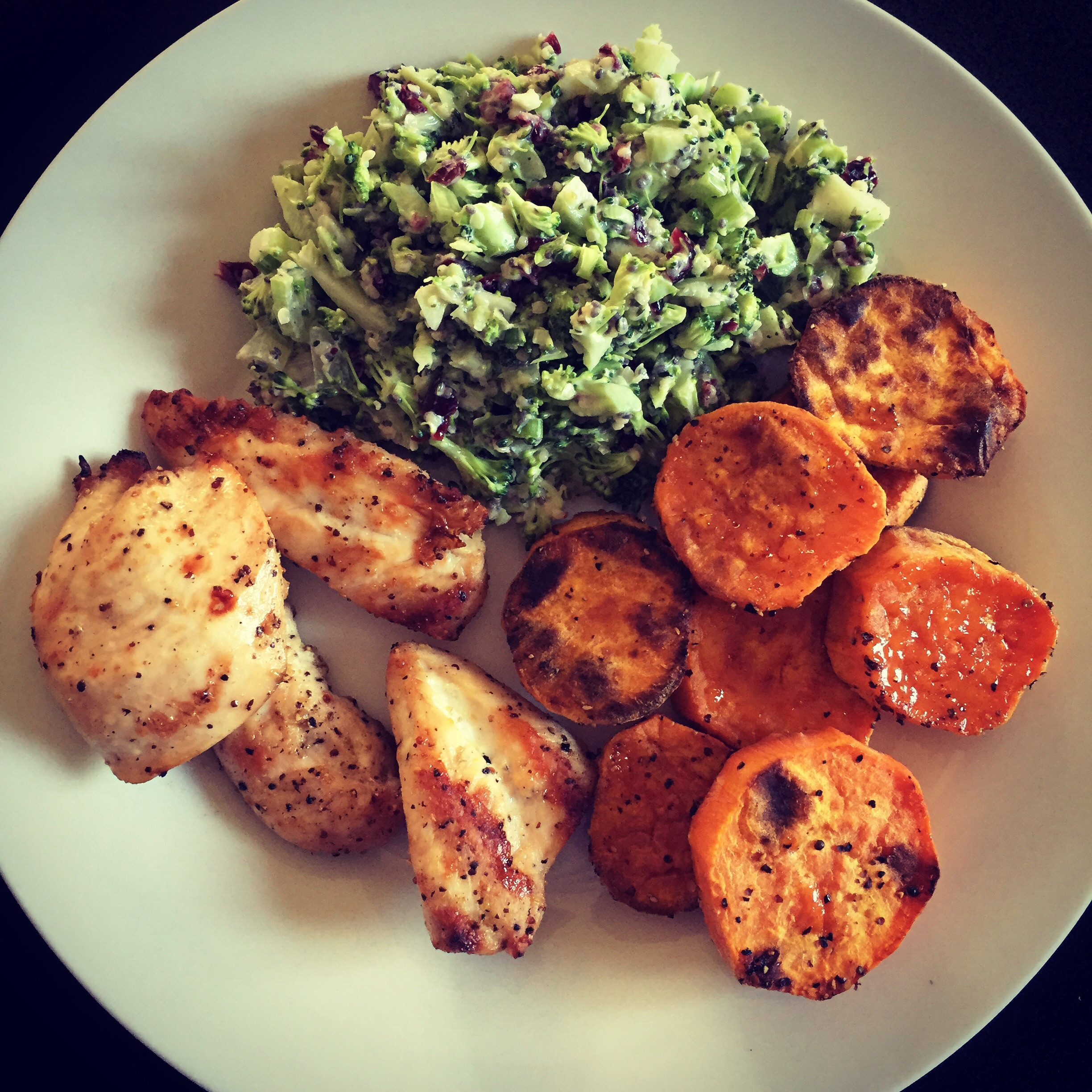 Broccoli slaw with barbecued chicken and roasted sweet potatoes