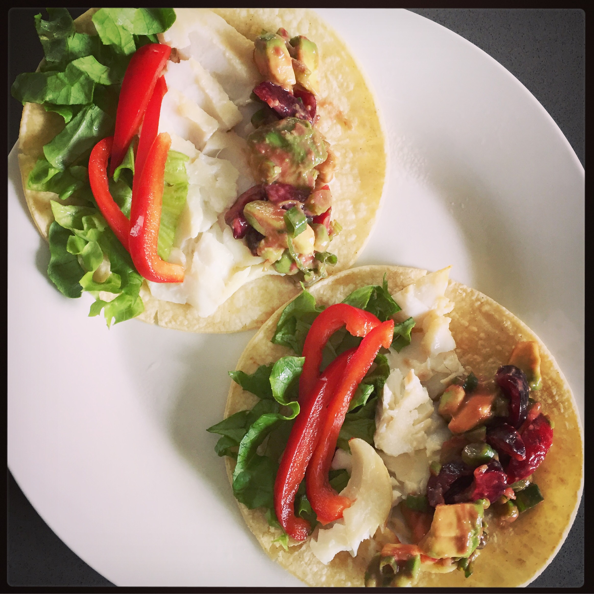Fish tacos with fresh cherry salsa.