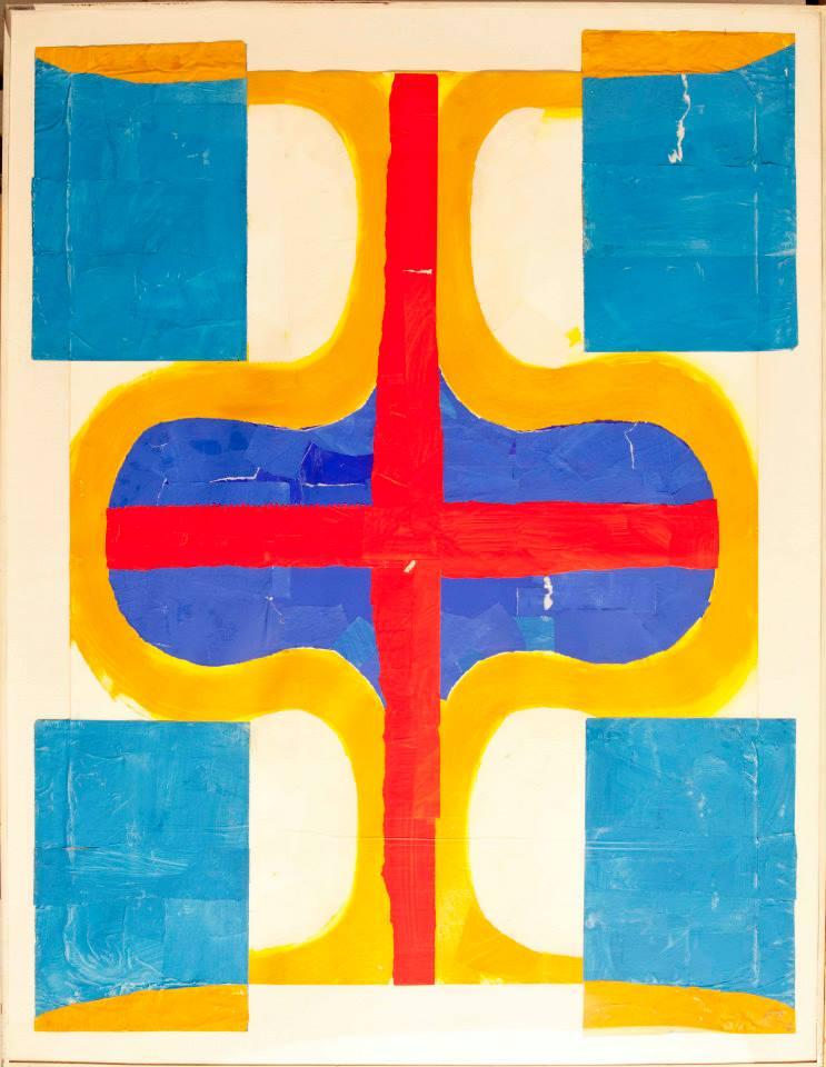 """FRITZ BULTMAN (1919-1985) """"Torso II"""" 1970 Painted papers 47 x 36 in"""