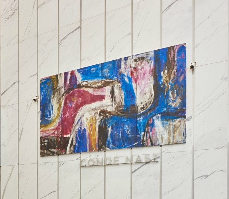 "This Nov. 2014 photo provided by Edelman Arts shows a painting by Fritz Bultman, ""Blue Triptych-Intrusion Into the Blue,"" in the north lobby of the new 1 World Trade Center building in New York. The painting is among 13 public artworks by five artists selected or commissioned for the historic 104-story skyscraper which opened to great fanfare in November. (AP Photo/Edelman Arts, Michael Mundy)"
