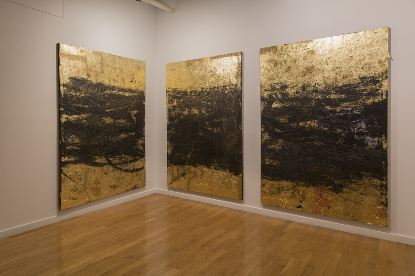 "Hyon Gyon, ""Harlem Gold 1, 2, and 3"" (all 2015)"