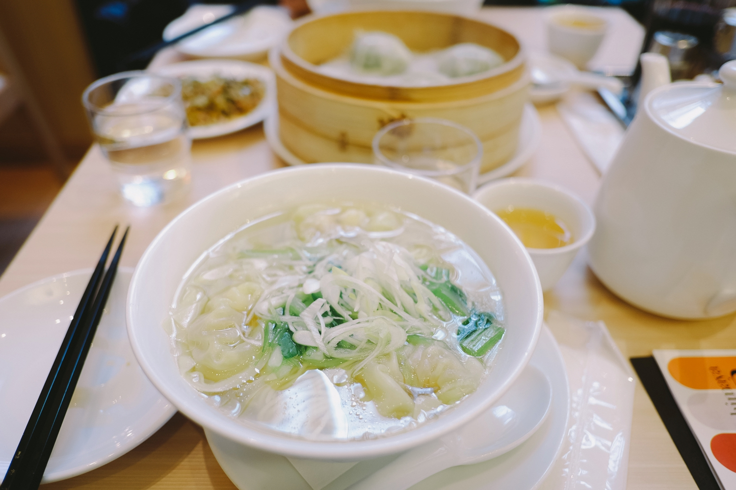 Wonton soup. I almost can't look at it because I get too upset that there's no Din Tai here.