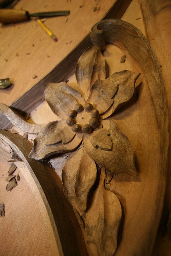 Carving in progress.