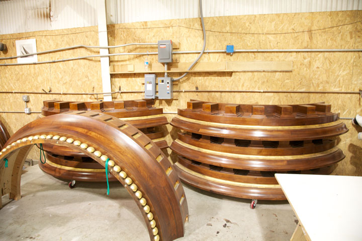 Tower sections ready for installation.