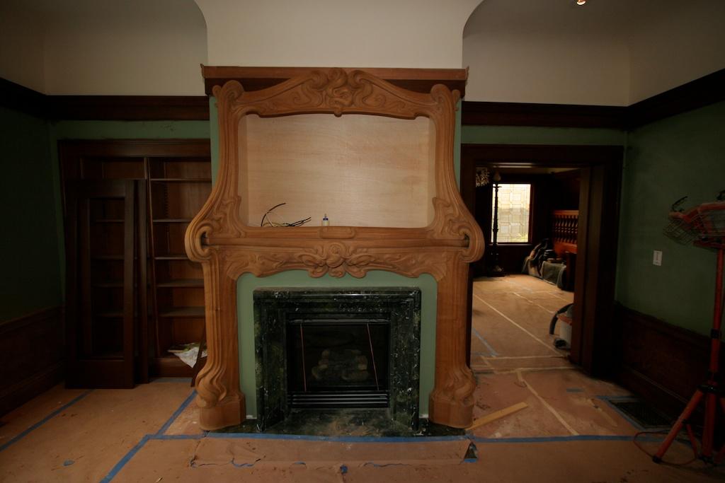 Mahogany Art-Nouveau Fireplace