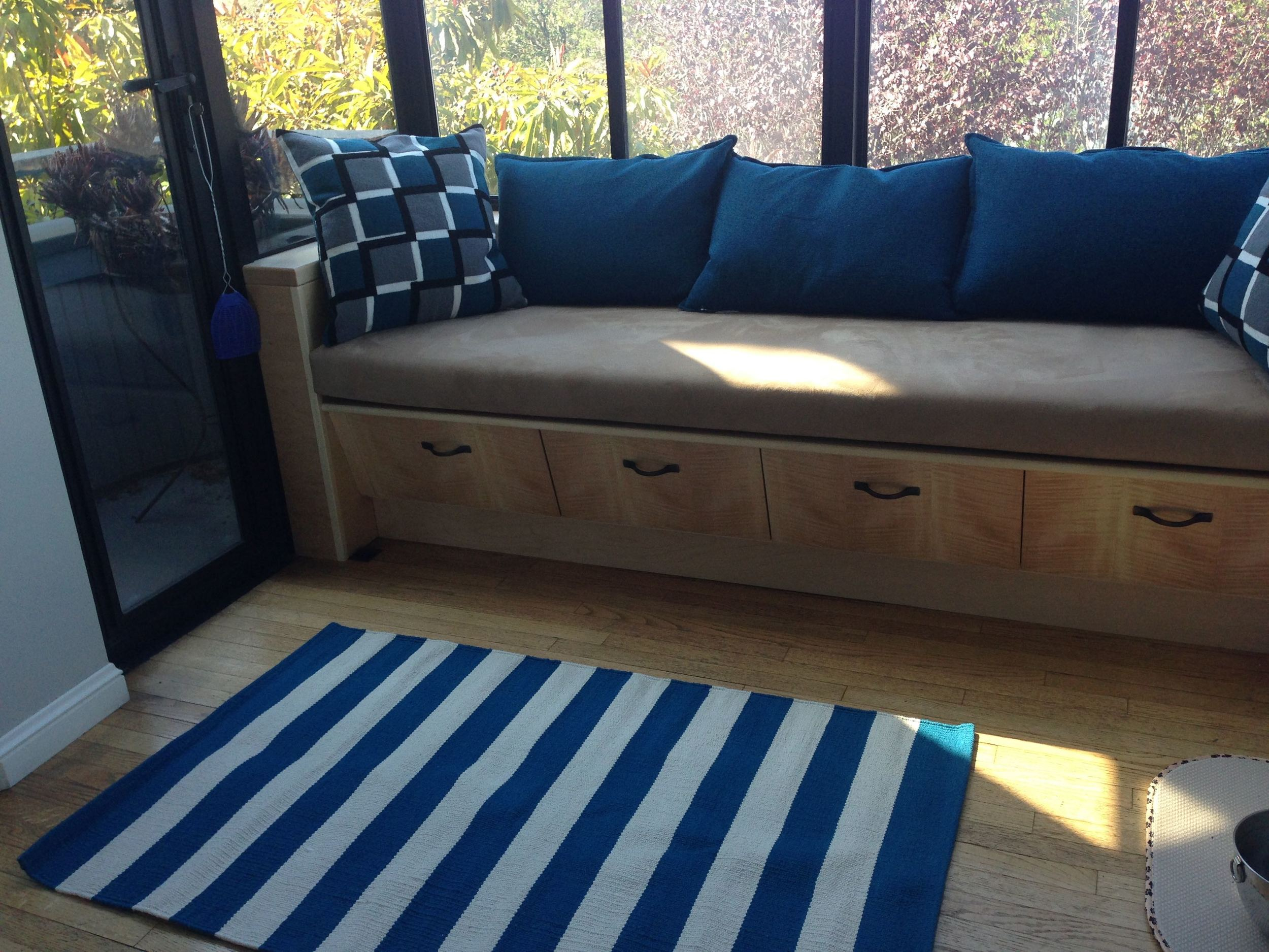 Completed seat in Maple with matched English Maple veneers. Custom upholstery by Laverty's in Richmond.