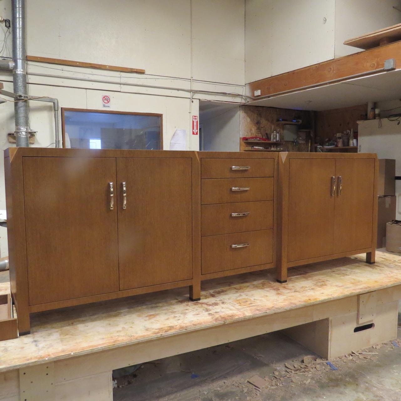 Completed dresser in White Oak with Ebony feet.