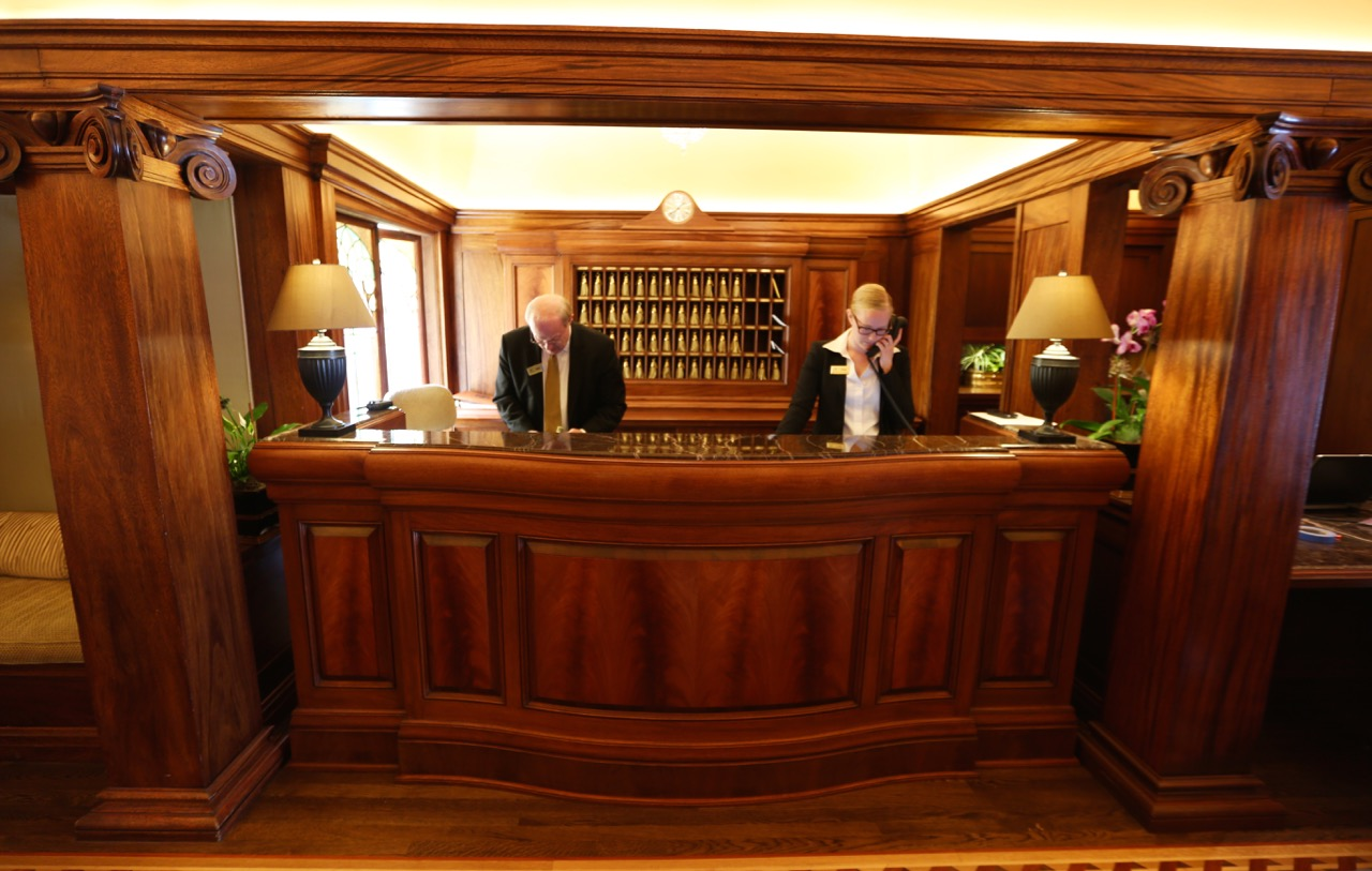 The project was done in African Mahogany selected to match the historic woodwork in the lobby.