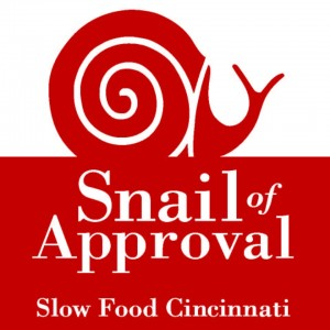In 2016 we were recognized by Slow Food Cincinnati with a  Snail of Approval Award  for contributions to the  quality ,  authenticity  and  sustainability  of the food supply of Greater Cincinnati, have been awarded the SFC Snail of Approval.